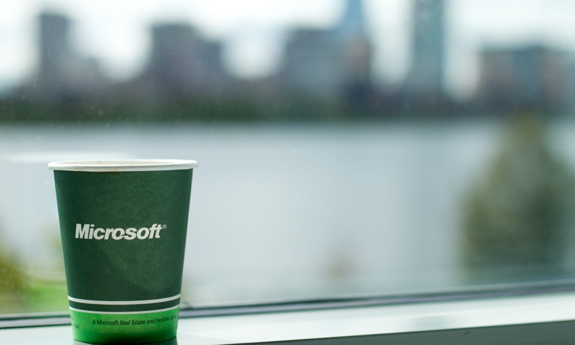 Picture of a green cup with Microsoft wording