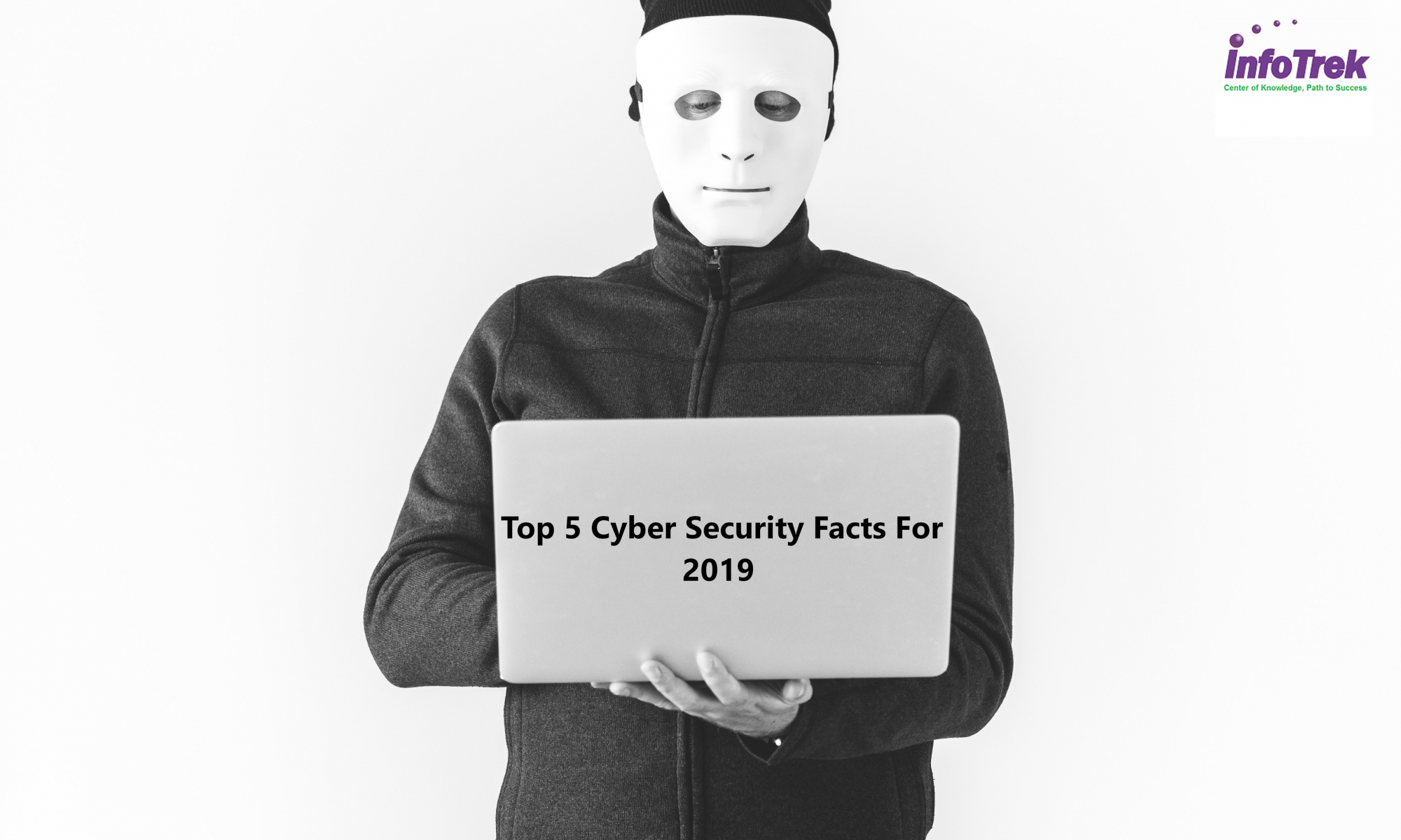 Man standing with laptop writing cybersecurity, Info Trek logo