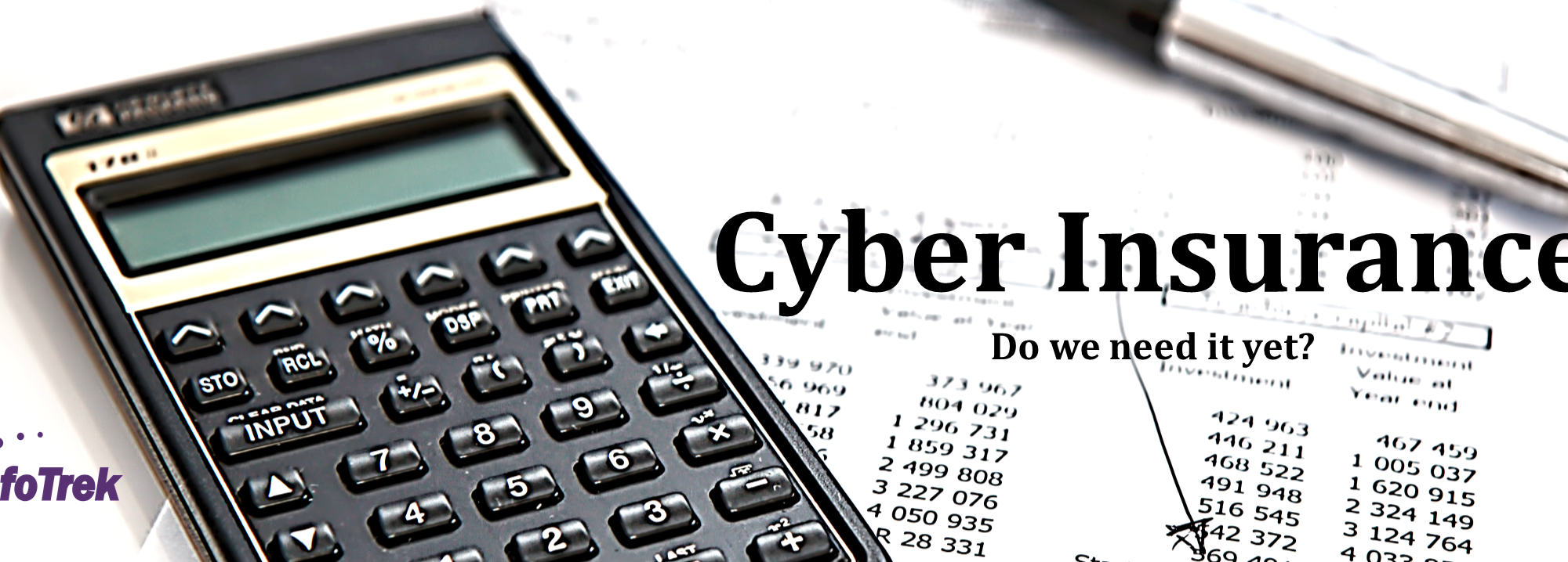 calculator, pen, and calculative sheets. Cyber Insurance is something people need nowadays